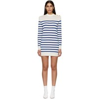 Balmain Blue And White Striped Buttoned Knit Mini Dress