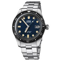 Oris 733 7720 4055 07 8 21 18 'S Divers Sixty Five Automatic Date Bracelet Strap Watch Silver Blue