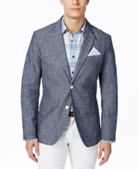 Tasso Elba Men's Chambray Blazer Created For Macy's Blue