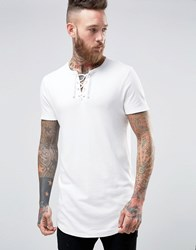 Asos Super Longline Muscle T Shirt With Lace Up V Neck And Curved Hem In Off White Off White