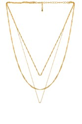 Five And Two Trinity Layered Necklace Metallic Gold