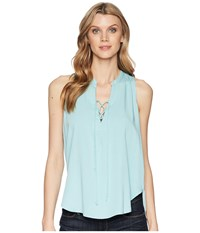 Stetson 1580 Rayon Crepe Laced Loose Tank Top Blue Clothing
