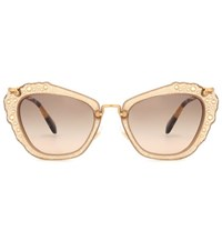 Miu Miu Embellished Cat Eye Sunglasses Beige