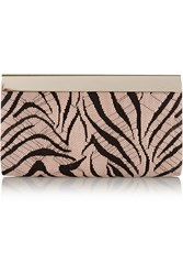 Jimmy Choo Cayla Embroidered Suede Clutch Animal Print