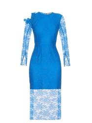Preen Amilna Lace Panel Midi Dress Blue