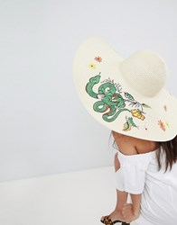 Asos Straw Embroidered Floppy Hat With Size Adjuster Beige