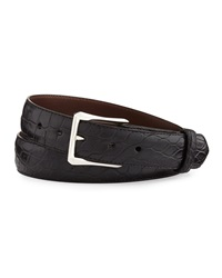 W.Kleinberg Matte Alligator Belt With 'The Watch' Buckle Black Made To Order