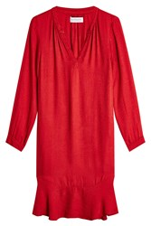 Velvet Fluid Dress Red