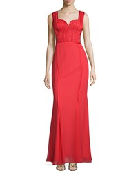 Mignon Sweetheart Neck Embellished Gown Red
