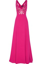 Marchesa Notte Embroidered Crepe De Chine Gown Fuchsia
