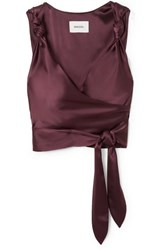 Nanushka Daphne Satin Wrap Top Burgundy