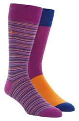 Polo Ralph Lauren Men's Stripe 2 Pack Socks Purple Stripe Purple
