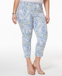 Charter Club Plus Size Bristol Printed Tummy Control Capri Jeans Only At Macy's Light Blue Air Combo