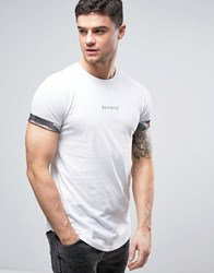 Devote T Shirt In White With Logo And Camo Rolled Sleeve White