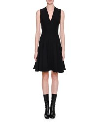 Alexander Mcqueen Sleeveless V Neck Flare Hem Dress Black