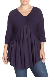 Plus Size Women's Melissa Mccarthy Seven7 V Neck Dolman Sleeve Mixed Media Peplum Top Evening Blue