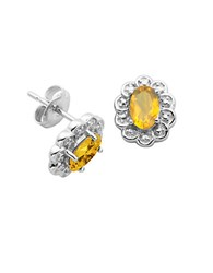 Lord And Taylor November Birthstone Citrine Cubic Zirconia Sterling Silver Stud Earrings