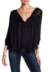 Silver Jeans Co. Long Sleeve Peasant Blouse Black