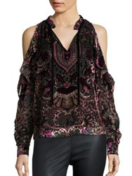 Parker Marjorie Cold Shoulder Velvet Burnout Blouse Multicolor