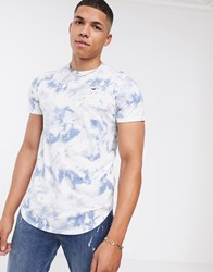 Hollister Icon Logo Curved Hem Washed Out T Shirt In Blue Wash