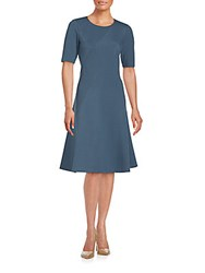 Lafayette 148 New York Short Sleeve A Line Dress Blue Storm