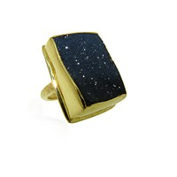 Maya Magal London Black Druzy Ring Gold