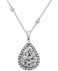Nina Silver Tone Multi Crystal Teardrop Pendant Necklace