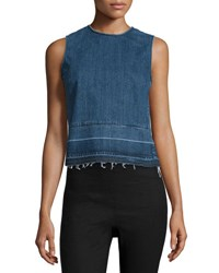 Theory Reli D Sleeveless Released Hem Denim Top Indigo