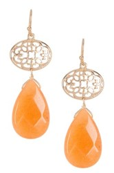 Bansri Katrina Teardrop Quartz Dangle Earrings Pink