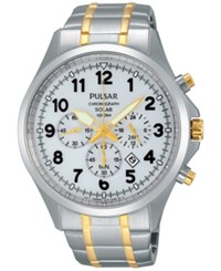 Pulsar Men's Solar Chronograph Two Tone Stainless Steel Bracelet Watch 43Mm Px5041 No Color