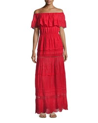 Alice Olivia Pansy Embroidered Off The Shoulder Boho Maxi Dress Bright Red