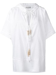 Veronique Branquinho Embroidered Hood Blouse White