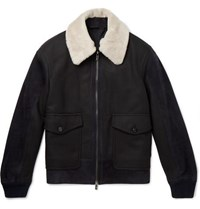 ad61e957 Shearling Panelled Wool Bomber Jacket Black
