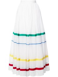 Maison Rabih Kayrouz Stripe Panel Full Skirt Women Silk Cotton 36 White