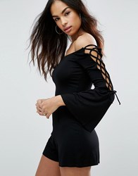 Asos Off Shoulder Lace Up Sleeve Playsuit Black