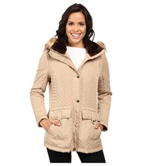 Jessica Simpson Quilted Anorak W Removable Hood And Faux Fur Khaki Women's Coat