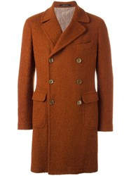 Tagliatore Textured Double Breasted Coat Yellow Orange