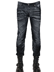 Just Cavalli Wrinkled Effect Washed Corduroy Jeans Black