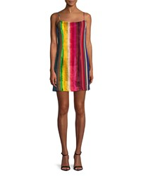 Milly Rainbow Velvet Mini Slip Dress Multi