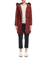 Whistles Cassie Fur Trim Parka Burgundy