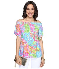 Lilly Pulitzer Almeria Top Multi Lovers Coral Women's Clothing Blue