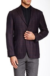 Zanetti Brown Plaid 2 Button Side Vent Modern Fit Wool Sport Coat