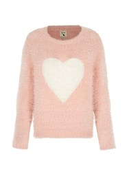 Yumi Heart Print Fluffy Jumper Pink
