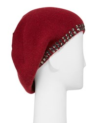 Portolano Cashmere Crystal Edge Beret Hat Ashton Red