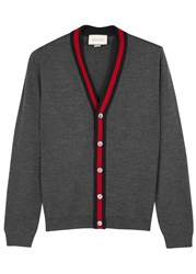 Gucci Grey Signature Striped Wool Cardigan