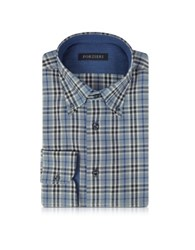 Forzieri Gray And Blue Plaid Cotton Slim Fit Men's Shirt