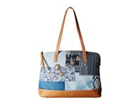 American West Indigo Zip Top Satchel Tote Denim Patchwork Tote Handbags Blue