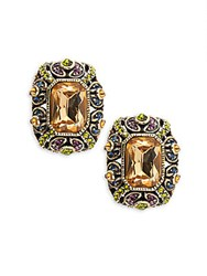 Heidi Daus Crystal And Rhinestone Button Stud Earrings Gold