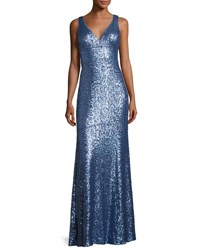Nicole Miller New York Sleeveless Sequin Column Gown Blue Metallic