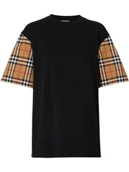 Burberry Vintage Check Sleeve Oversized T Shirt Black
